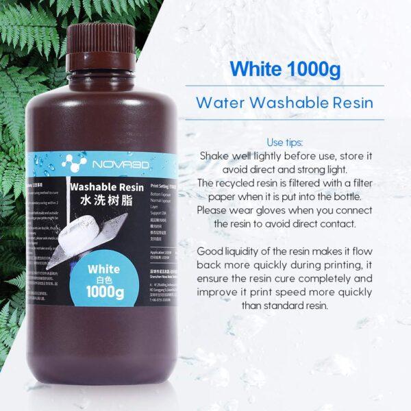 NOVA3D 3D Printer Water Washable Resin 405nm - White 1L